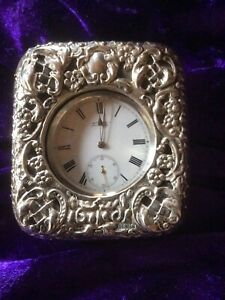 Antique Silver J Myers Company Travelling Clock Birmingham 1904 Working