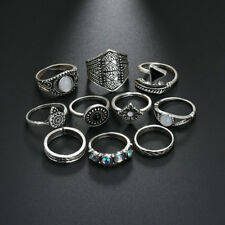 10Pcs Women Retro Boho Vintage Silver/Bronze Punk Knuckle Finger Midi Rings Set