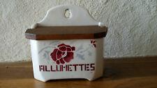 &Eclat& Authentique vieux pot à allumettes mural fleur - céramique BADONVILLERS