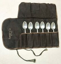 Vintage Tiffany NY Sterling Silver Coffee Desert Spoons Case Set 6 Mint Gift