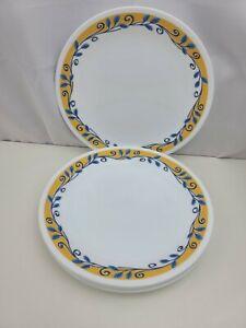 """5 Corelle Casa Flora 8 1/2"""" Salad Plates Yellow Blue Vines"""