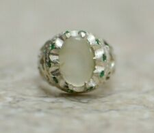 Silver Dor-e-Najaf Men Ring-Middle Eastern and Emerald Free Shipping