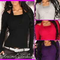 NEW SEXY WOMENS DESIGNER JUMPER TOP size 8 10 12 LADIES 2 in 1 SWEATER black S M