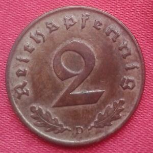 362 - 2 Pfennig 37ADFJ  40AJ   3. Reich - Kursmünze Messing  mit Hk