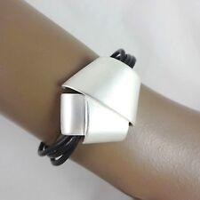 """Dansk Smykkekunst - 'Sophie' Black Leather Matt Silver Plate Fold Bracelet 7"""""""
