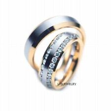 14K TWO TONE GOLD MATCHING HIS & HERS WEDDING BANDS DIAMOND RING MENS WOMENS SET