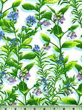 """Fabric #2057 All-Over Floral Blue Purple Green Henry Glass 1 Pc. at 1 yard + 25"""""""