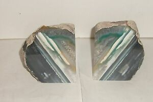 GREEN STONE ROCK BOOK ENDS