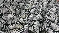 "Off White Chinese Stripes Satin fabric black floral 44"" wide £5.95 per meter."