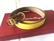 Authentic Salvatore Ferragamo Gancini Logo Suede Leather Belt Size 75 Medium