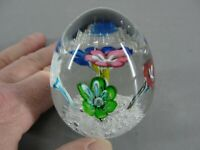EGG SHAPED HAND BLOWN PAPERWEIGHT MULTI COLORED FLOWERS CONTROLLED BUBBLES VTG