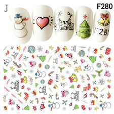 Women Lady Colors Christmas 3D Nail Art Stickers Snowflakes & Cute Snowmen Decal