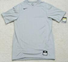 New Nike Dri Fit Gray Men's V-Neck T-Shirt Top Short Sleeve Polyester Mans Small