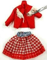 Barbie Vintage Two Piece Outfit 1990's Red Top w/White Fringe R/W Gingham Skirt