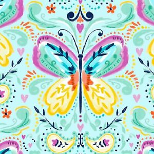 Fabric Butterfly Song on Turquoise Cotton 3 WISHES FABRIC 1/4 Yard