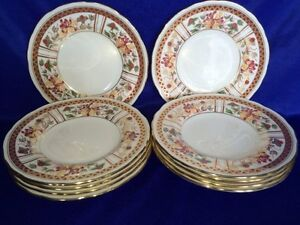 "**BEAUTIFUL** Royal Crown Derby 'Honeysuckle' 10 x 6"" Salad Plates"