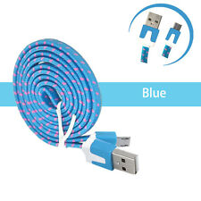3 feet Flat Nylon Blue micro USB car charging syncing cable 100pcs wholesale lot