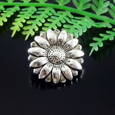 40pcs Vintage Silver Alloy Sunflower Buttons Sewing Crafts 18x18x7mm 51482