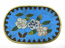 Japanese Cloisonne Enamel Blue Floral Pin Tray