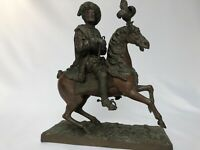 BRONZE 19EME FRANCOIS I CAVALIER TYPE LOUIS XIII CHEVAL PATINE CHOCOLATE C2065