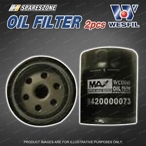 2 x Wesfil Oil Filters for Mahindra Genio Pik Up S5 XUV500 4Cyl DOHC 16V