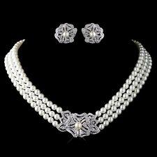 Rhodium Ivory Pearl & Rhinestone Necklace Vintage Floral Bridal Jewelry Set