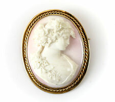Continental 14k Gold & Coral Cameo Brooch c1920 Female Profile w/ Grapes 25.08g