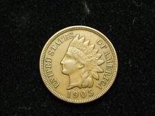 ESTATE SALE COIN AU 1905 INDIAN HEAD CENT PENNY w/ FULL LIBERTY & DIAMONDS #114V