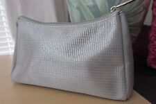 Lancome Metallic Silver Glittery Cosmetic Bag