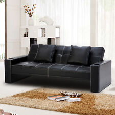 Fold Down Futon Sleeper Sofa Bed Couch in Black Leatherette Upholstery Furniture