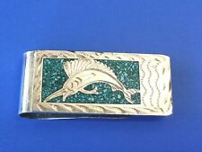 Vintage Taxco Alpaca Mexico Sterling Silver & Turquoise Money Clip 30.22 grams