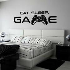 Eat Sleep Game Vinyl Art Wall Sticker Boys Girls Bedroom Gaming Gamer Decals