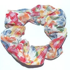 NEW CUTE FLORAL 80s HANDMADE LARGE ELASTIC SCRUNCHIES PONYTAIL HAIR BAND E370