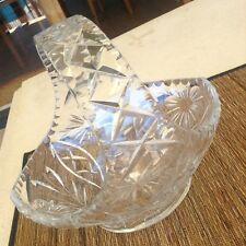 Large Vintage Crystal Basket Bowl