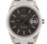 Mens Rolex Date Stainless Steel Watch Quickset Slate Gray Dial Oyster Band 15200