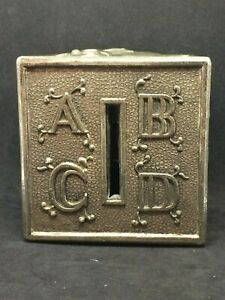 """Vintage Leonard 3"""" ABC Block Cube Coin Bank, Silver Plate Excellent W/ Stopper"""