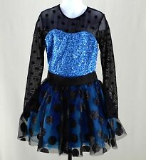 Weissman IC Dance Costume Ballet Jazz Sequin Glitter Blue Black Girls 7 8 kg1