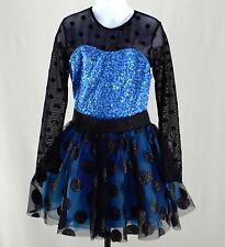 Weissman IC Dance Costume Ballet Jazz Sequin Glitter Blue Black Girls 7 8 kg1