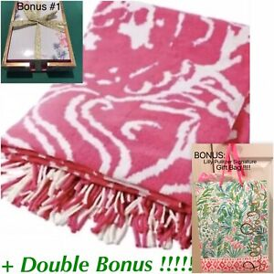 NEW Lilly Pulitzer Cashmere Blend Pink Throw Blanket Too Much Bubbly +DBL BONUS!