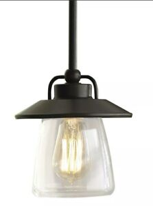 🆕 allen + roth Bristow Bronze Rustic Clear Glass Ceiling Light Globe Pendant