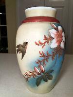 Antique/Vintage VICTORIAN HAND-PAINTED GLASS VASE Floral Satin Custard/Milkglass