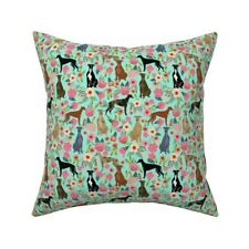 Mint Green Floral Dog Greyhound Throw Pillow Cover w Optional Insert by Roostery