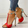 Womens Floral Ankle Strap Stiletto High Heels Open Toe Sandal Roman Casual Shoes