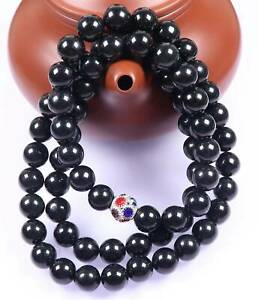 Certified Black 墨翠 Natural A Jade Jadeite 10 mm Bead Necklace 650mm long 18941项链