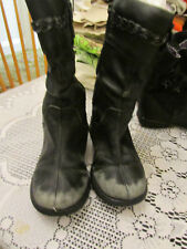 Clarks Girls Calf Length Black Leather Boots in Size 11.5 G - wide