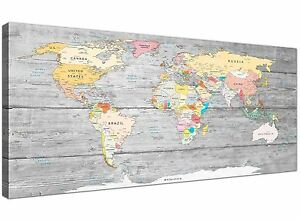 Large Map of World Canvas Art Print - Colourful Light Grey - 120cm Wide - 1306