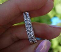1.10 Ct Round Cut Diamond Huggie Hoop Earrings 10K White Gold Over Silver