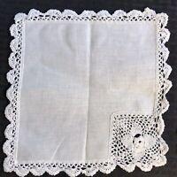 "2 Vintage White Linen Square Doilies Cotton Crocheted Doily 8"""