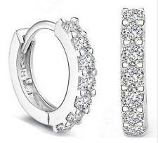 Women's 925 Silver Crystal Huggie Dangle Hoop Punk Stud Wedding Earrings Jewelry