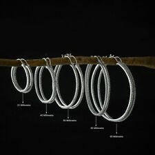Hoop Earrings Round Huggie Silver Metal Big Circle Stud Fashion earrings for wom